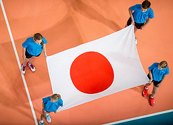 08-07-2017 NED: World Grand Prix Dominican Republic - Japan, Apeldoorn<br /> Fourth match of first weekend of group C during the World Grand Prix / Dominican Republic defeats Japan with 3-1 - Flag Japan