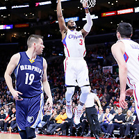 23 February 2015: Los Angeles Clippers guard Chris Paul (3) goes for the layup past Memphis Grizzlies guard Beno Udrih (19) during the Memphis Grizzlies 90-87 victory over the Los Angeles Clippers, at the Staples Center, Los Angeles, California, USA.