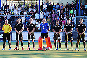 The Black Sticks stand for the national anthem. Black Sticks Men vs Korea test series, Lloyd Elsmore Hockey Stadium, Auckland, New Zealand. 16 March 2016. Photo: Anthony Au-Yeung / www.photosport.nz