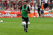 Brentford Midfielder Florian Jozefzoon (7) warms up before kick off during the EFL Sky Bet Championship match between Brentford and Queens Park Rangers at Griffin Park, London, England on 21 April 2018. Picture by Andy Walter.