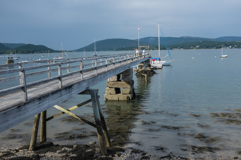 Southwest Harbor, ME - 7 August 2014. The Dock at the Claremont Hotel. The Narrows at the entrance to Somes Sound can be seen on the left.