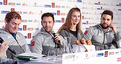 16.02.2018, Austria House, Pyeongchang, KOR, PyeongChang 2018, Pressekonferenz, Rodeln, im Bild v.l. Peter Penz, Georg Fischler, Madeleine Egle, David Gleirscher // f.l. Peter Penz Georg Fischler Madeleine Egle David Gleirscher during a pressconference of Austrian Luge Team of the Pyeongchang 2018 Winter Olympic Games at the Austria House in Pyeongchang, South Korea on 2018/02/16. EXPA Pictures © 2018, PhotoCredit: EXPA/ Johann Groder
