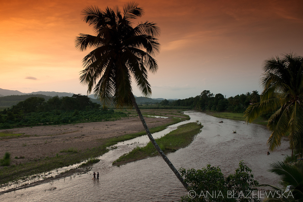 Thailand, Mae Sariang. Sunset over a river in a small Thai town near the Burmese border.