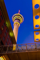 The Sky Tower, the iconic centerpiece of the Auckland skyline is  328 metres (1,076 ft) tall (making it the tallest free-standing structure in the Southern Hemisphere) and the Sky City hotel and gaming complex in the Central Business District, Auckland, New Zealand.