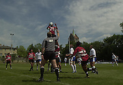 © Peter Spurrier / Intersport images.email images@intersport-images.com.21/6/03 Photo Peter Spurrier.Imber Court - Esher - Surrey.IRB U21 Rugby World Cup - Iffley Road - Oxford .Italy v Japan.Line out - referee waves for a line out  infringment