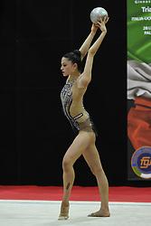 July 28, 2018 - Chieti, Abruzzo, Italy - Rhythmic gymnast Milena Baldassarri of Italy performs her ball routine during the Rhythmic Gymnastics pre World Championship Italy-Ukraine-Germany at Palatricalle on 29th of July 2018 in Chieti Italy. (Credit Image: © Franco Romano/NurPhoto via ZUMA Press)