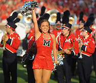 A Rebelette at Mississippi cheers before the game vs. Southeast Missouri State at Vaught-Hemingway Stadium in Oxford, Miss. on Saturday, September 7, 2013. (AP Photo/Oxford Eagle, Bruce Newman)