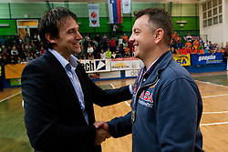 Gregor Humerca and Igor Kolakovic of ACH after the volleyball match between ACH Volley Bled and UKO Kropa at final of Slovenian National Championships 2011, on April 27, 2011 in Arena SGTS Radovljica, Slovenia. ACH Volley defeated Kropa 3-0 and became Slovenian National Champion 2011. (Photo By Vid Ponikvar / Sportida.com)