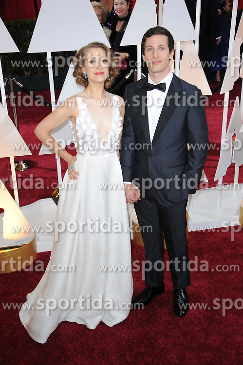 22.02.2015, Dolby Theatre, Hollywood, USA, Oscar 2015, 87. Verleihung der Academy of Motion Picture Arts and Sciences, im Bild Andy Samberg &amp; Joanna Newsom // attends 87th Annual Academy Awards at the Dolby Theatre in Hollywood, United States on 2015/02/22. EXPA Pictures &copy; 2015, PhotoCredit: EXPA/ Newspix/ PGMP<br /> <br /> *****ATTENTION - for AUT, SLO, CRO, SRB, BIH, MAZ, TUR, SUI, SWE only*****