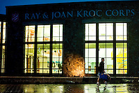 JEROME A. POLLOS/Press..A Ray & Joan Kroc Corps Community Center member walks in front of one of the pool areas shortly after opening Monday morning for patrons to use equipment for the first time.