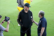 Ex AFC Wimbledon goalkeeper Aaron Ramsdale being interviewed during the EFL Cup match between AFC Wimbledon and Milton Keynes Dons at the Cherry Red Records Stadium, Kingston, England on 13 August 2019.