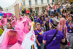 London, UK. 6 July, 2019. Activists from Lesbians and Gays Support The Migrants, African Rainbow Family, the Outside Project, Micro Rainbow and other LGBT+ groups storm the Pride in London parade in solidarity with those for whom Pride in London is inaccessible and in protest against the corporatisation of Pride in London.