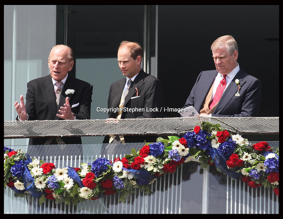 Duke of Edinburgh with Prince Andrew and Edward  at  the Epsom Derby, Saturday, 2nd June 2012.  Photo by: Stephen Lock / i-Images