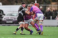 Bedwas's Nathan Hudd is tackled by Pontypridd's Chris Dicomidis and Corey Domachowski  - Mandatory by-line: Craig Thomas/Replay images - 30/12/2017 - RUGBY - Sardis Road - Pontypridd, Wales - Pontypridd v Bedwas - Principality Premiership