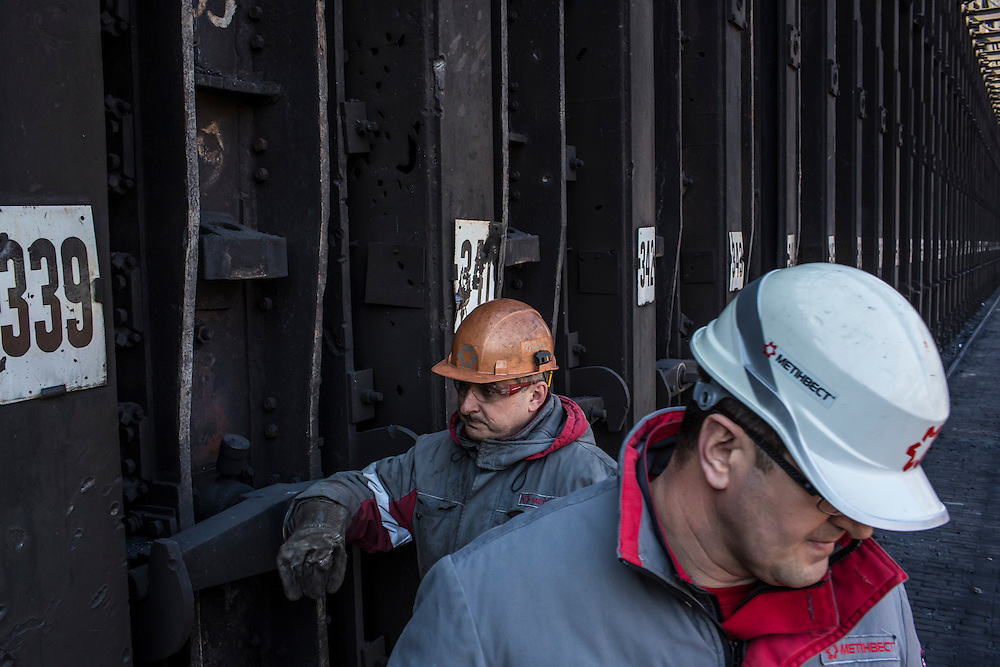 AVDIIVKA, UKRAINE - MARCH 18, 2015: Musa Magomedov, right, general manager of the Avdiivka Coke and Steel plant in Avdiivka, Ukraine. CREDIT: Brendan Hoffman for The New York Times