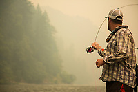 Fly fishing the lower Rogue River in southern Oregon.