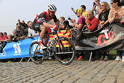 Jasper Stuyven (BEL) Trek-Segafredo climbs the Paterberg for the last time during the 2019 Ronde Van Vlaanderen 270km from Antwerp to Oudenaarde, Belgium. 7th April 2019.<br /> Picture: Eoin Clarke | Cyclefile<br /> <br /> All photos usage must carry mandatory copyright credit (© Cyclefile | Eoin Clarke)