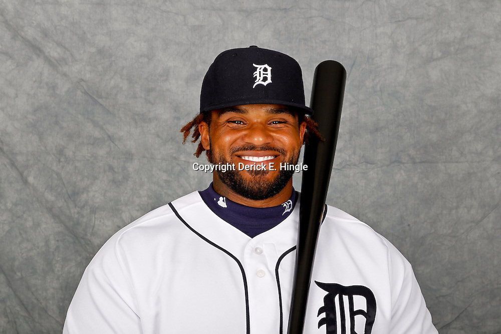 February 28, 2012; Lakeland, FL, USA; Detroit Tigers first baseman Prince Fielder (28) poses for photo day in the rec room at the Detroit Tigers Headquarters.  Mandatory Credit: Derick E. Hingle-US PRESSWIRE