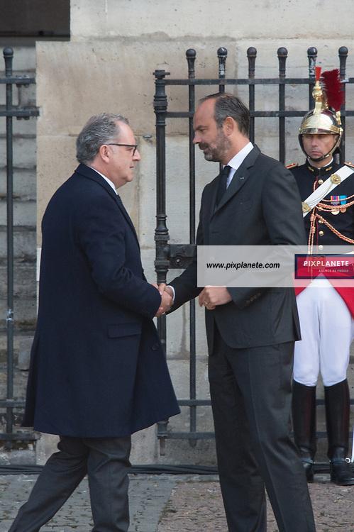 Richard Ferrand _Edouard Philippe Obsèques de Jacques Chirac Lundi 30 Septembre 2019 église Saint Sulpice Paris