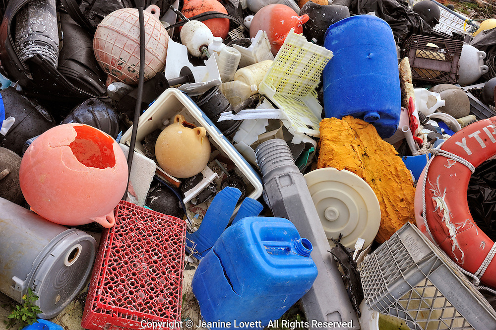 Pile of plastic and trash from a beach clean up. The trash mostly from The Great Pacific Garbage Patch.