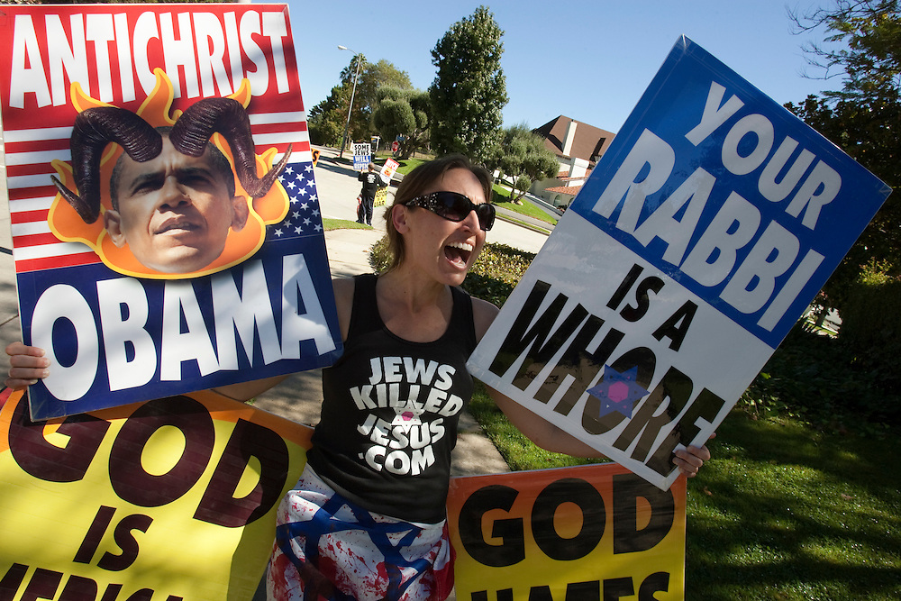 Members of the Westboro Baptist Church demonstrate in Los Angeles. Picketing Hillel Council at UCLA (NOTE: Although she would not provide her name, the woman is believed to be Libby Phelps)