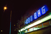 Food Bag store with neon sign at night