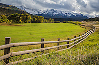 Open ranchland below the Sneffels Range during the autumn season,  Colorado.