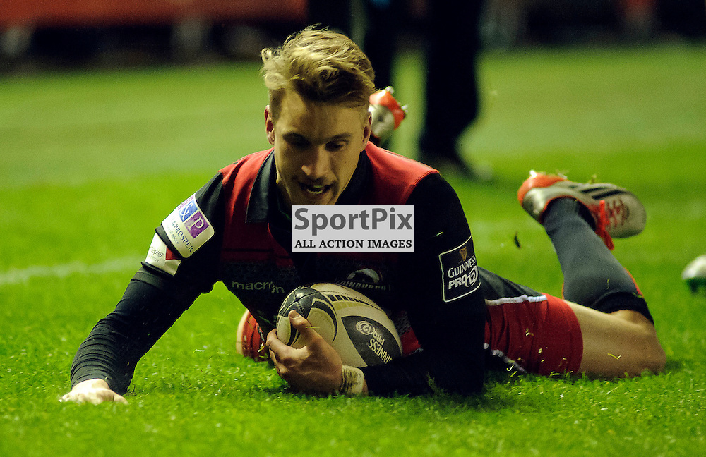 27/11/2015, Murrayfield, Scotland, Tom Brown goes over to score a try during the Edinburgh Rugby v Dragons Guinness PRO12 game, ......(c) COLIN LUNN | SportPix.org.uk