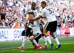 Free to use courtesy of Sky Bet. Tom Cairney of Fulham celebrates with Ryan Sessegnon and Aleksandar Mitrovic after scoring a goal to make it 0-1 - Rogan/JMP - 26/05/2018 - FOOTBALL - Wembley Stadium - London, England - Aston Villa v Fulham - Sky Bet Championship Play-Off Final.