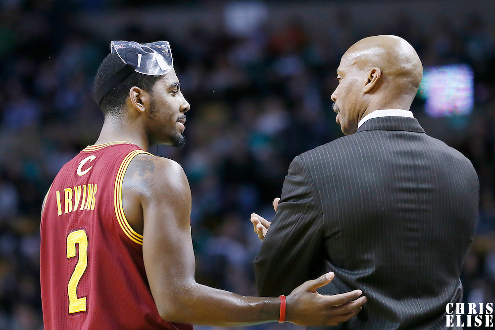 19 December 2012: Cleveland Cavaliers point guard Kyrie Irving (2) talks to Cleveland Cavaliers head coach Byron Scott during the Boston Celtics 103-91 victory over the Cleveland Cavaliers at the TD Garden, Boston, Massachusetts, USA.