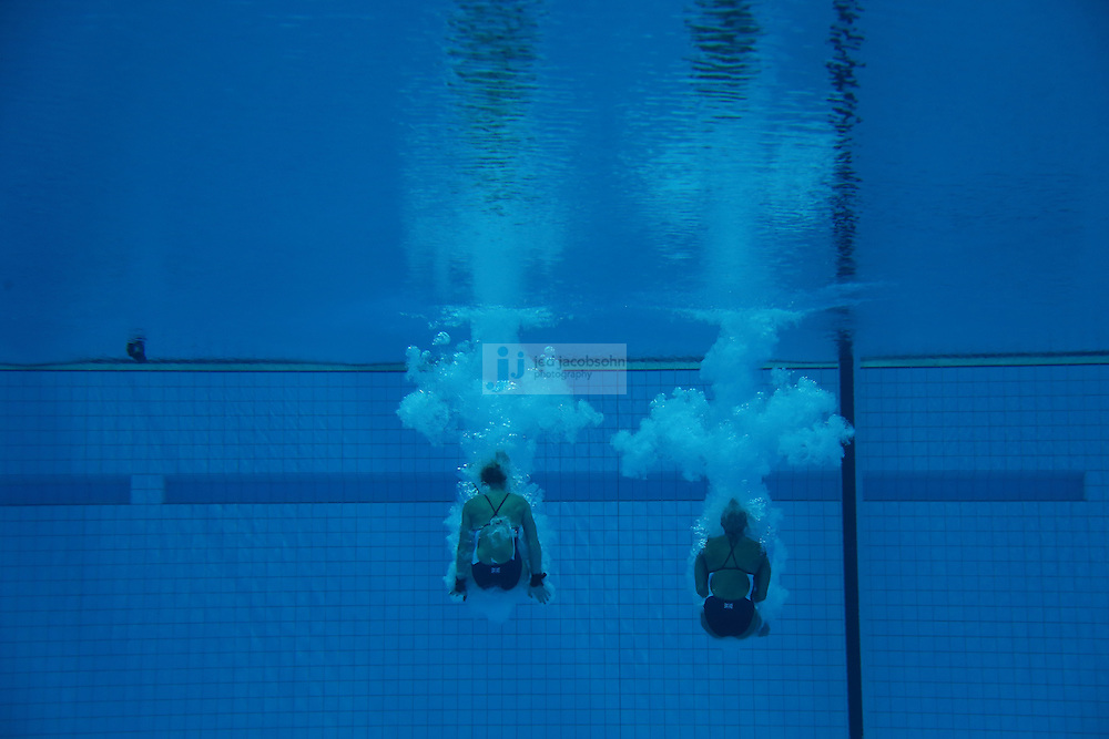 Sarah Barrow and Tonia Couch of Great Britain dive during the women's synchronised 10m platform diving final during day 4 of the London Olympic Games London, 31 Jul 2012..(Jed Jacobsohn/for The New York Times)....