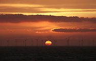 20/03/2014. North Wales, UK. The sun rises over the Rhyl Flats Offshore Wind Farm off North Wales this morning, 20th March 2014.Photo credit : Rob Arnold