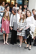 Crown Princess Leonor, Victoria Federica de Marichalar, Queen Letizia of Spain, Irene Urdangarin, Princess Sofia are seen after going to see the 'Billy Elliot' theatre play on May 19, 2018 in Madrid, Spain