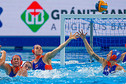 Vivian Sevenich #8 of Netherlands during the semi final Netherlands vs Russia on LEN European Aquatics Waterpolo January 23, 2020 in Duna Arena in Budapest, Hungary
