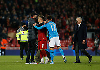 Football - 2019 / 2020 UEFA Champions League - Group E: Liverpool vs. Napoli<br /> <br /> Liverpool manager Jurgen Klopp with Roberto Firmino and Dries Mertens of SSC Napoli  at the end of the game, at Anfield.<br /> <br /> COLORSPORT/ALAN MARTIN