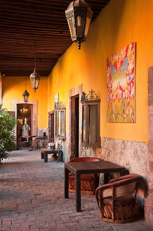 Patio of Casa Canal furniture store in San Miguel de Allende, Mexico.