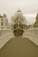 Halpenny Bridge, Dublin City, Ireland in sepia effect