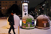 Berlin.man walking in a winter night