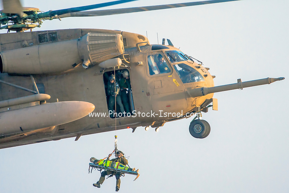 Israeli Air force (IAF) Sikorsky CH-53 helicopter during a rescue operation