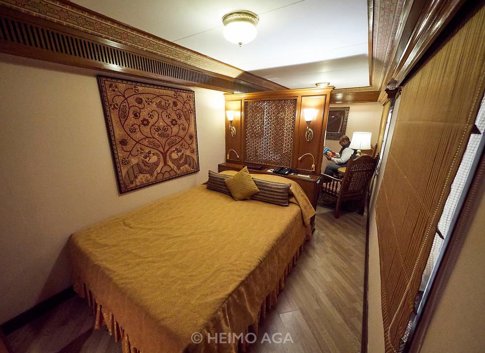 India, Madhya Pradesh. Khajuraho station. Maharajas' Express luxury train.