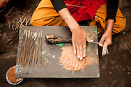 Craftsman processing encense sticks, Nepalgunj, Nepal, Asia