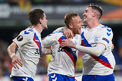September 20, 2018 - Villarreal, Castellon, Spain - Ryan Kent, Scott Arfield and Kyle Lafferty of Rangers FC celebrates a goal during the UEFA Europa League Group G match between Villarreal CF and Rangers FC at La Ceramica Stadium on September 20, 2018 in Vila-real, Spain. (Credit Image: © Maria Jose Segovia/NurPhoto/ZUMA Press)