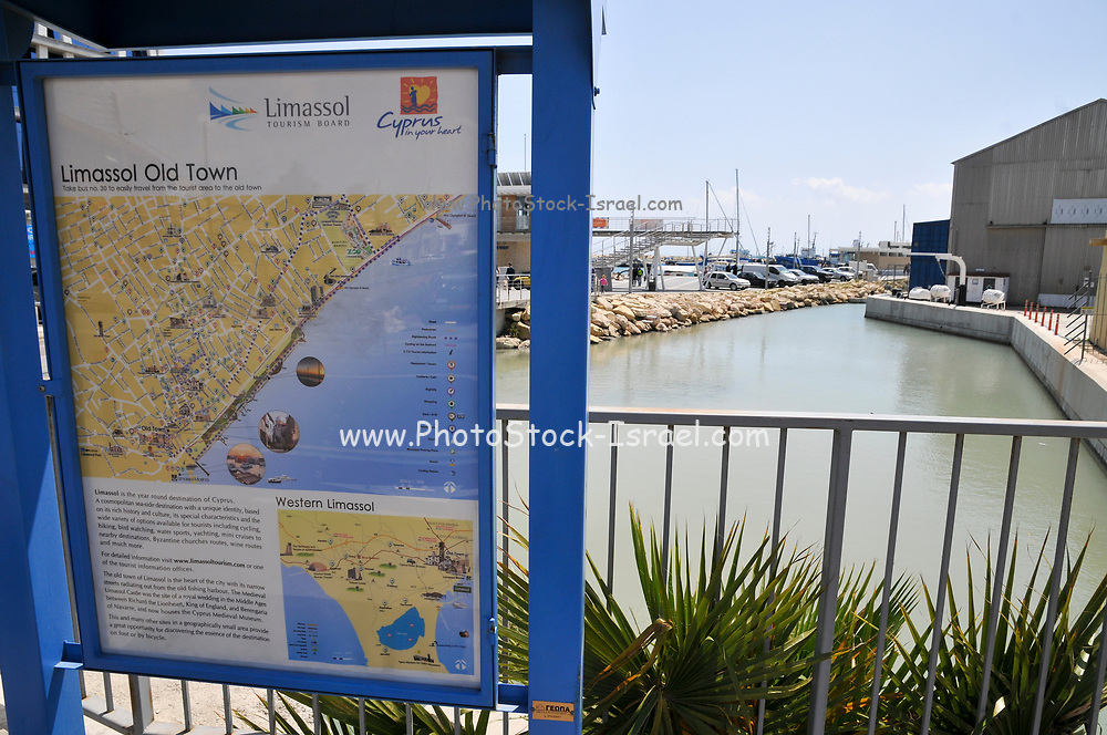 Tourist information sign, Old Town, Limassol, Cyprus The Marina in the background