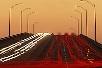 Traffic on bridge at dusk, Key Biscayne, Florida, USA