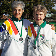 Jeanine Lieffrig, South Africa, (left) and Audrey Van Coller, South Africa, Runners up, 70 Womens doubles competition during the 2009 ITF Super-Seniors World Team and Individual Championships at Perth, Western Australia, between 2-15th November, 2009