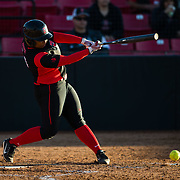 02 March 2018: San Diego State softball hosts Minnesota on day two of the San Diego Classic I at Aztec Softball Stadium. San Diego State Iesha Hill (24) hits into a fielders choice to advance runners to second and third in the bottom of the second inning. The Aztecs beat the #21/20 Gophers 6-2.<br /> More game action at sdsuaztecphotos.com