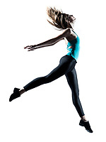 Side view of  young one woman dancer jumping stetching fitness workout isolated on studio white background