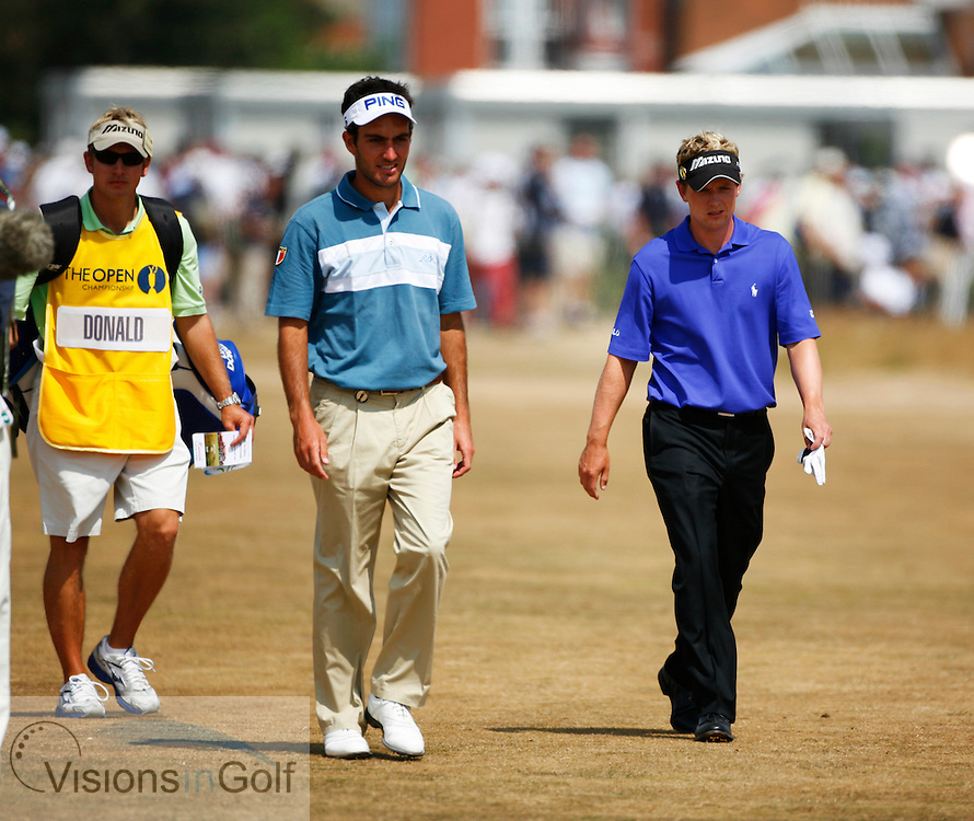 Edoardo Molinari and Luke Donald walking up the 3rd fairway during the second round on 21st July 2006<br /> The Open Championship 2006, Royal Liverpool GC, Hoylake, England,UK.<br /> Picture Credit: Mark Newcombe / visionsingolf.com