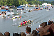 Henley on Thames, England, United Kingdom, Sunday, 07.07.19, Oxford Brookes University A (foreground) and <br /> Hollandia Roeiclub, Netherlands, NED,  (background), passing the Progress Board, in the Final, of The Ladies' Challenge Plate, Henley Royal Regatta,  Henley Reach, [©Karon PHILLIPS/Intersport Images]<br /> <br /> 13:17:04 1919 - 2019, Royal Henley Peace Regatta Centenary,