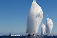 FRANCE, St Tropez. 30th September 2013. Voiles de St Tropez. L-R, Hanuman (K6), Lionheart (H1) and Velsheda (K7).